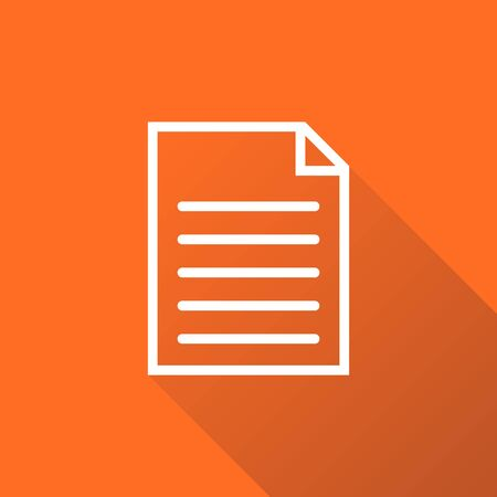 Document icon vector flat illustration. Isolated documents symbol. Paper page graphic design pictogram on orange background with shadow Illustration