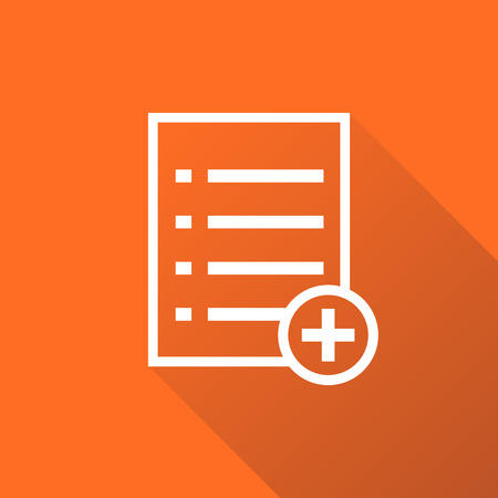addition: Add list document icon vector flat illustration. Isolated documents symbol. Paper page graphic design pictogram on orange background with shadow