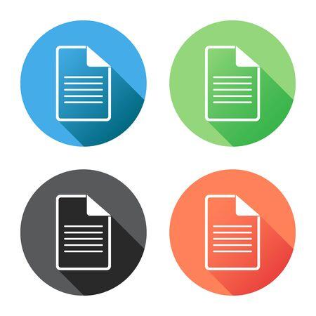 Documento icono vector plana ilustración. Símbolo de documentos aislados. Pictograma de diseño gráfico de página de papel Ilustración de vector