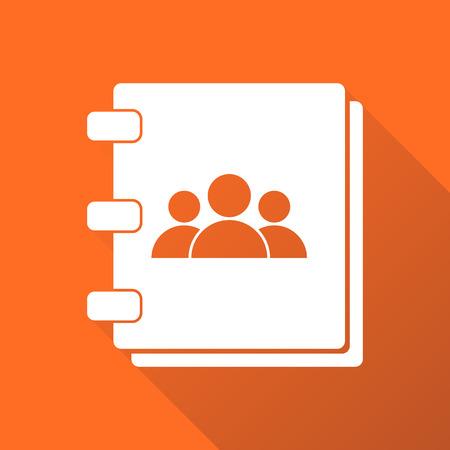 Adresboekpictogram met lange schaduw. Neem contact op met nota platte vectorillustratie op oranje achtergrond.