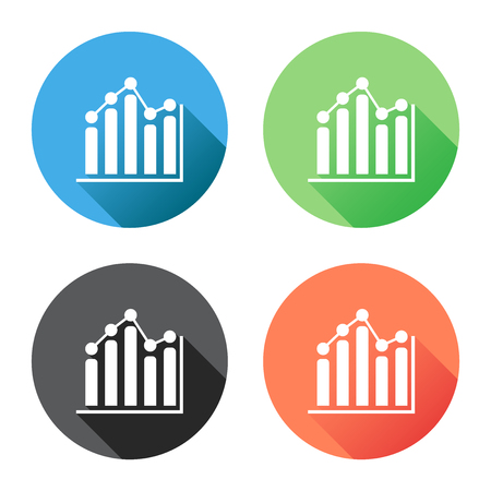 Chart graph icon with long shadow. Business flat vector illustration on blue, green, black and orange background.