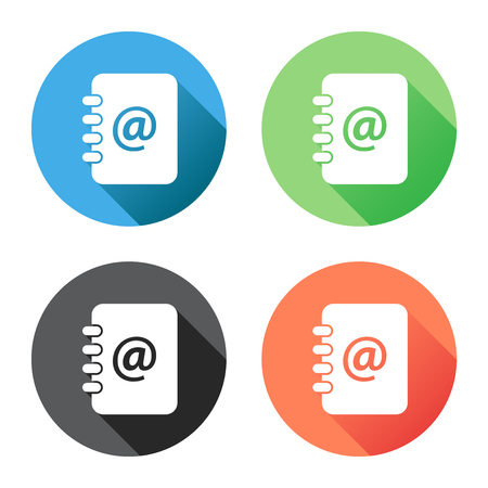 Address book icon with long shadow. Email note flat vector illustration on blue, green, black and orange background. Ilustração