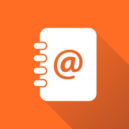 Address book icon with long shadow. Email note flat vector illustration on orange background. Ilustração
