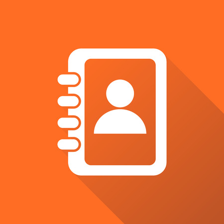 web directories: Address book icon with long shadow. Contact note flat vector illustration on orange background.