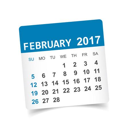 Februari 2017. Kalender vectorillustratie Stock Illustratie