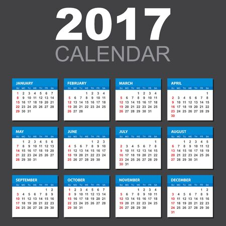 personal data assistant: 2017 Calendar in horizontal style. Illustration Vector template of color 2017 calendar on black background. Illustration