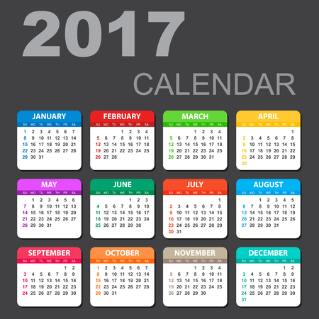 electronic organiser: 2017 Calendar in horizontal style. Illustration Vector template of color 2017 calendar on black background. Illustration