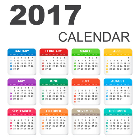 event planner: 2017 Calendar in horizontal style. Illustration Vector template of color 2017 calendar on white background.