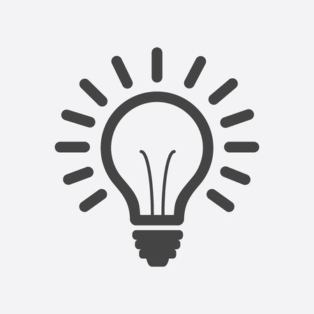 Light bulb line icon vector, isolated on white background. Idea sign, solution, thinking concept. Lighting Electric lamp illustration in flat style for graphic design, web site. Illustration