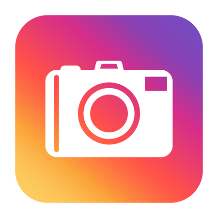 Vintage camera icon on colorful gradient. Flat vector illustration. Illustration