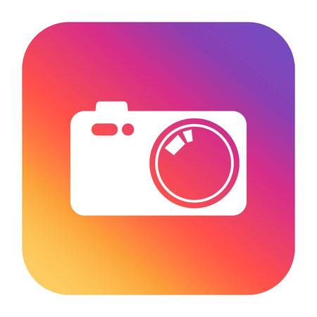 Vintage camera icon on colorful gradient. Flat vector illustration. Ilustração