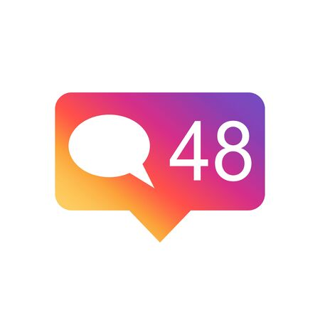 follower: Like, comment, follower icon. Colorful flat vector illustration on gradient background. Illustration