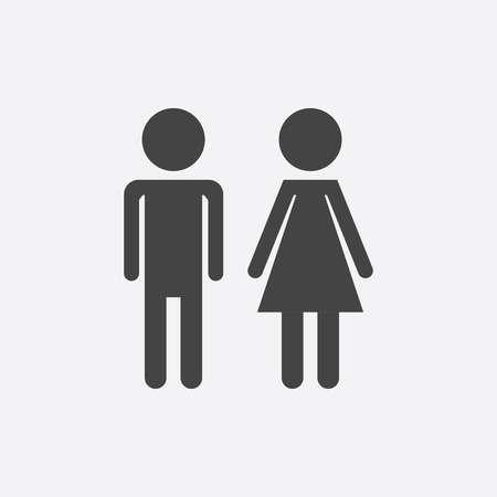 Vector man and woman icon on white background. Modern flat pictogram. Simple flat symbol for web site design. Çizim