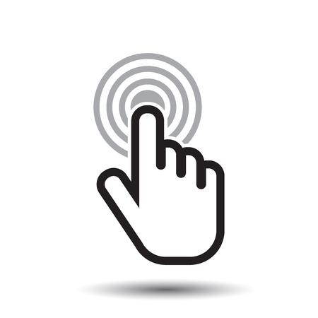 cursor: Click hand icon. Cursor finger sign flat vector. Illustration on white background.