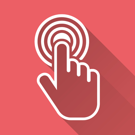 Click hand icon. Cursor finger sign flat vector. Illustration with long shadow on pink red background.