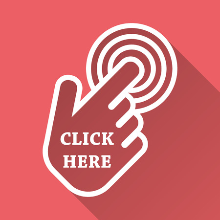 Click here icon. Hand cursor signs. Pink buttons with long shadow. Flat vector illustration.