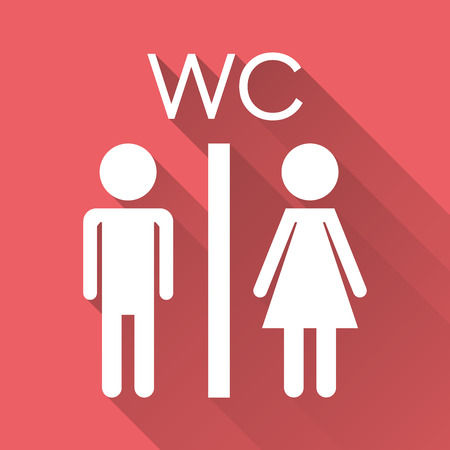 Vector toilet, restroom icon on with long shadow. Modern man and woman flat pictogram. Simple flat symbol for web site design.