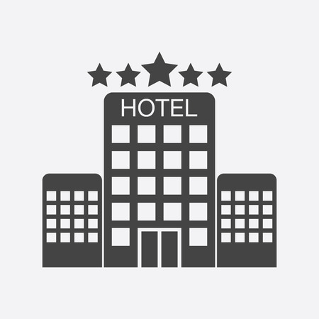 Hotel icon isolated on white background. Simple flat pictogram for business, marketing, internet concept. Trendy modern vector symbol for web site design or mobile app.