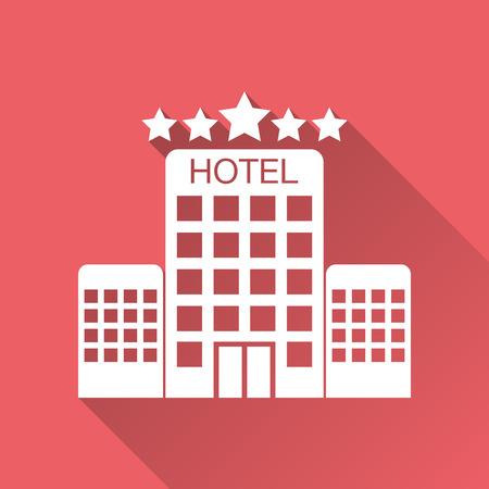 긴 그림자와 빨간색 배경에 고립 호텔 아이콘. 비즈니스, 마케팅, 인터넷 개념에 대 한 간단한 평면 픽토그램. 웹 사이트 디자인 또는 모바일 애플 리케이션을위한 유행 현대 벡터 기호.
