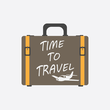 Time to travel concept flat vector illustration. Suitcase for tourism, journey, trip, tour, voyage, summer vacation.