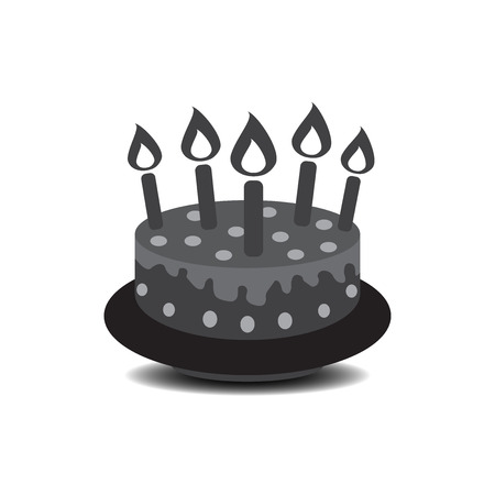 Birthday cake with burning candles pictogram icon. Simple pictogram for celebration, marketing, internet concept on white background. Trendy modern vector symbol for web site design or mobile app