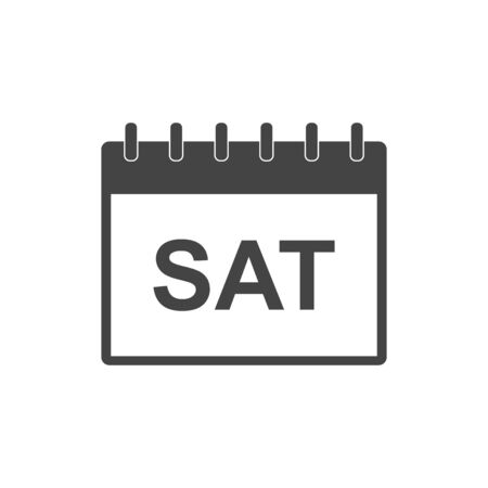 event planner: Saturday calendar page pictogram icon. Simple flat pictogram for business, marketing, internet concept on white background. Trendy modern vector symbol for web site design or mobile app.