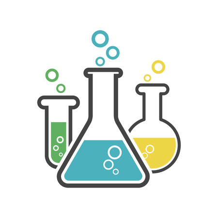 Chemical test tube pictogram icon. Laboratory glassware or beaker equipment isolated on white background. Experiment flasks. Trendy modern vector symbol. Simple flat illustration