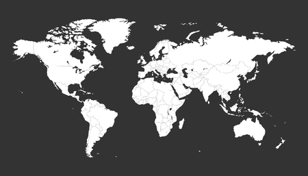 Blank white political world map isolated on black background. Worldmap Vector template for website, infographics, design. Flat earth world map illustration.  イラスト・ベクター素材