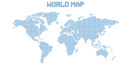 Dotted blank blue world map isolated on white background. World map vector template for website, infographics, design. Flat earth world map with round dots illustration.