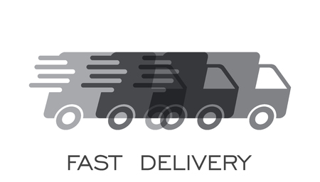 Delivery truck  vector illustration. Fast delivery service shipping icon. Simple flat pictogram for business, marketing or mobile app internet concept on white background. Illusztráció