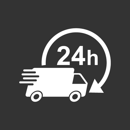 24h: Delivery truck 24h vector illustration. 24 hours fast delivery service shipping icon. Simple flat pictogram for business, marketing or mobile app internet concept on black background.