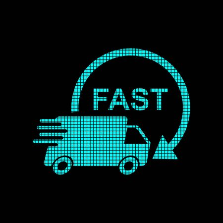 Delivery truck  in pixel style. Fast delivery service shipping vector illustration  icon. Simple flat pictogram for business, marketing or mobile app internet concept on black background