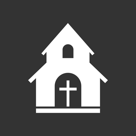 Church sanctuary vector illustration icon. Simple flat pictogram for business, marketing, mobile app, internet on black background. Illustration