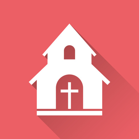 Church sanctuary vector illustration icon. Simple flat pictogram for business, marketing, mobile app, internet on red background with long shadow.