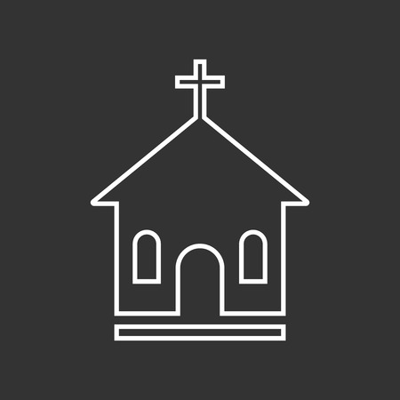 Line church sanctuary vector illustration icon. Simple flat pictogram for business, marketing, mobile app, internet on black background. Illustration