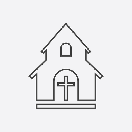 Line church sanctuary vector illustration icon. Simple flat pictogram for business, marketing, mobile app, internet on white background.
