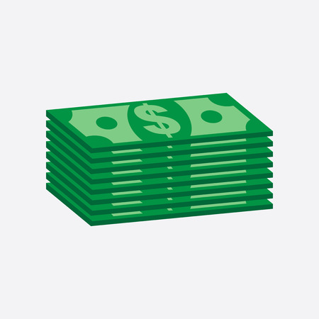 Stacks dollar cash. Vector illustration in flat design on white background Illustration