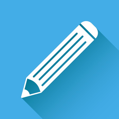 Pencil pictogram icon. Simple flat illustration for business, marketing internet concept on red background with long shadow. Trendy modern vector symbol for web site design or mobile app Illustration