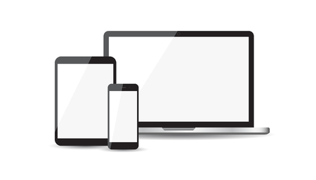 Realistic device flat Icons: smartphone, tablet, laptop. Vector illustration on white background Иллюстрация