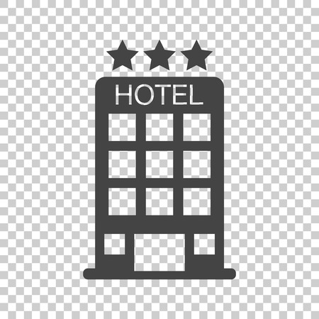 Hotel icon on isolated background. Simple flat pictogram for business, marketing, internet concept. Trendy modern vector symbol for web site design or mobile app. Illustration