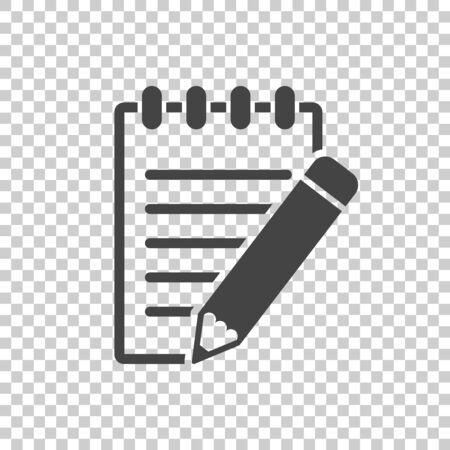 연필 아이콘이있는 문서. 격리 된 배경에 인터넷 개념을 마케팅하는 비즈니스에 대 한 간단한 평면 그림. 웹 사이트 디자인 또는 모바일 애플 리케이션