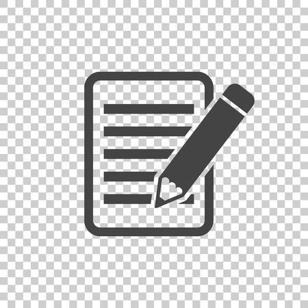 spiral notebook: Document with pencil pictogram icon. Simple flat illustration for business, marketing internet concept on isolated background. Trendy modern vector symbol for web site design or mobile app