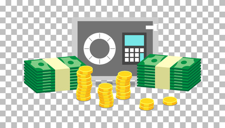 Closed small safe box and stacks of gold coins and stacks of dollar cash. Vector illustration in flat design on isolated background Ilustrace