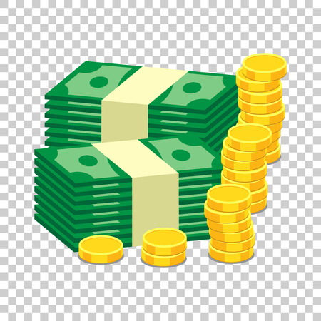 Stacks of gold coins and stacks of dollar cash. Vector illustration in flat design on isolated background Ilustrace