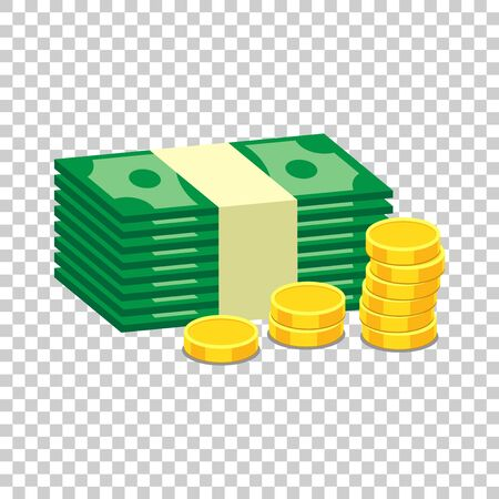 Stacks of gold coins and stacks of dollar cash. Vector illustration in flat design on isolated background Ilustracja