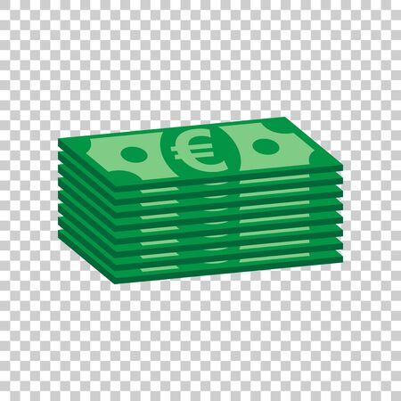 Stacks of euro cash. Vector illustration in flat design on isolated background