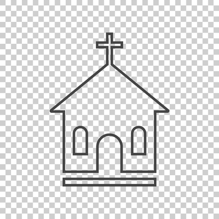 Line church sanctuary vector illustration icon. Simple flat pictogram for business, marketing, mobile app, internet on isolated background Illustration