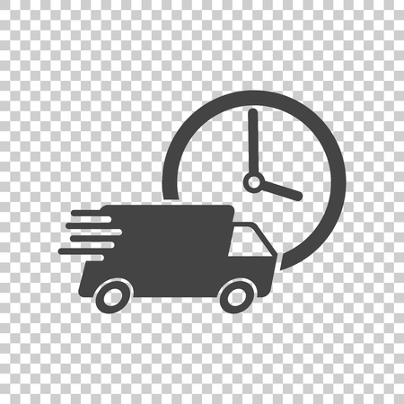 Delivery 24h truck with clock vector illustration. 24 hours fast delivery service shipping icon. Simple flat pictogram for business, marketing or mobile app internet concept