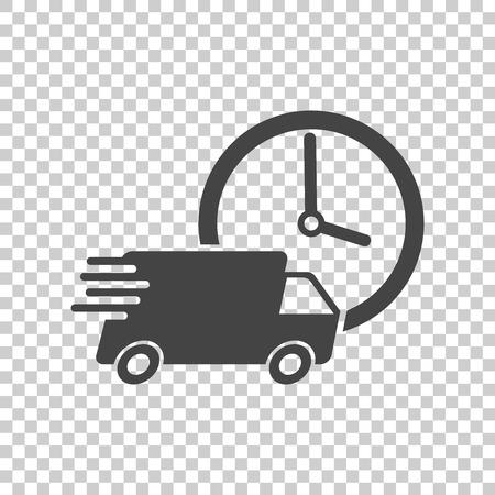 Levering 24 uur truck met klok vectorillustratie. 24 uur snel bezorgservice verzendingspictogram. Eenvoudig plat pictogram voor zakelijk, marketing of mobiel app internetconcept Stock Illustratie