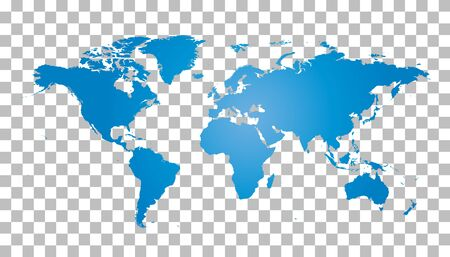 Blank blue world map on isolated background. World map vector template for website, infographics, design. Flat earth world map illustration Çizim